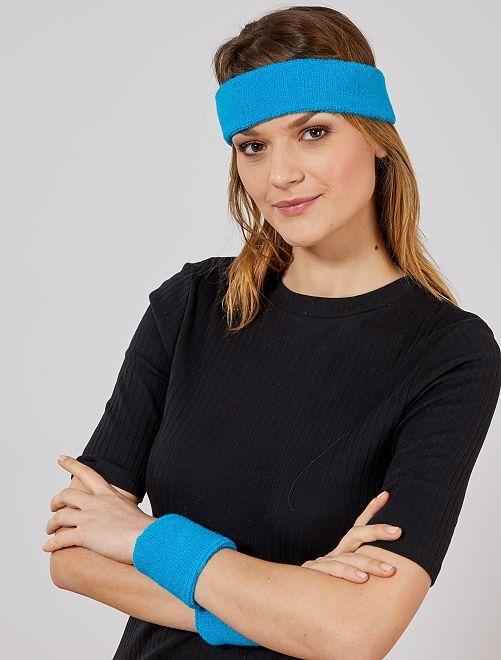 Set de cinta para la cabeza y muñequeras de rizo                                                                 azul