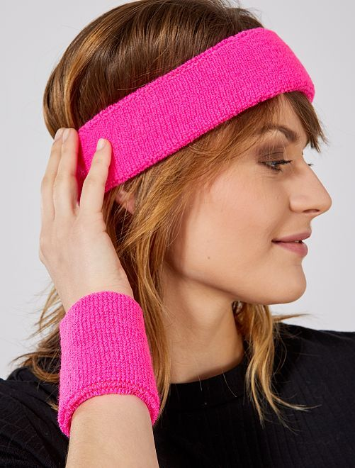 Set de cinta para la cabeza y muñequeras de rizo                                                                 rosa