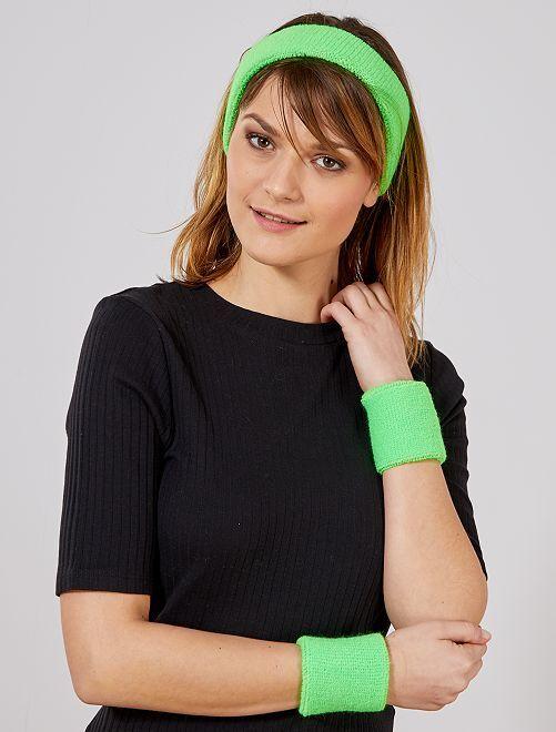 Set de cinta para la cabeza y muñequeras de rizo                                                                 verde