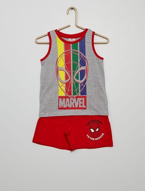 Short + camiseta tirantes algodón 'Spider-Man'                                         gris/rojo