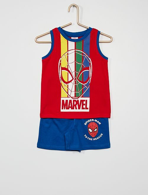 Short + camiseta tirantes algodón 'Spider-Man'                                         rojo/azul