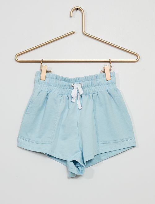 Short de felpa con cintura fruncida                                         gris azul