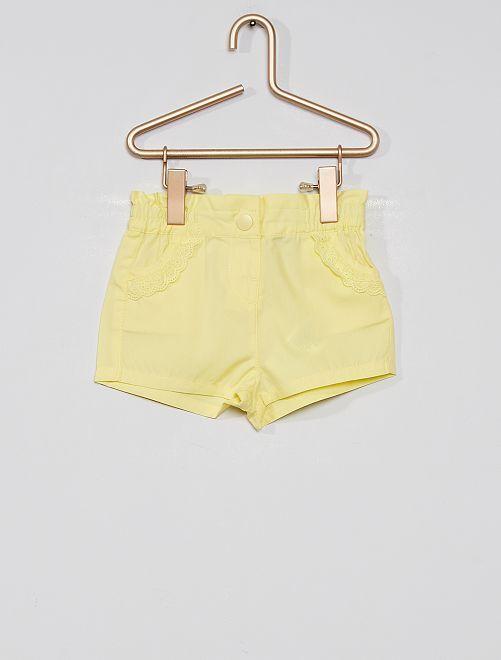 Short de popelina eco-concepción                                                                                                                 amarillo limón