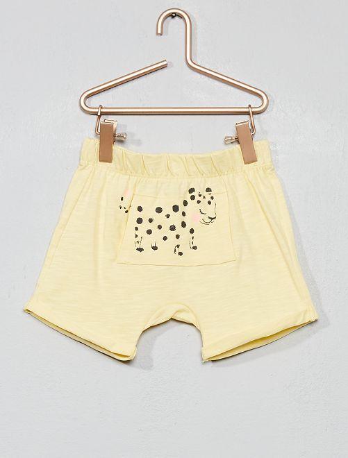 Short de punto flameado 'leopardo'                                                     AMARILLO Bebé niña