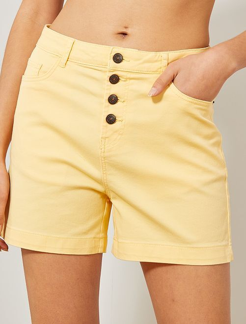 Short de sarga                                                                                                                 amarillo pálido Mujer talla 34 a 48