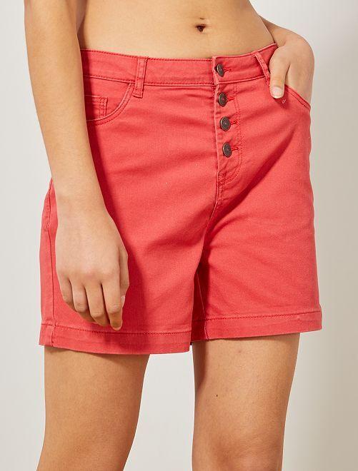 Short de sarga                                                                                                                 rojo coral Mujer talla 34 a 48