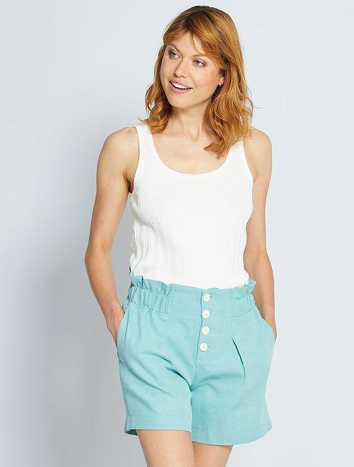 Short de talle alto de lino y algodón 'eco-concepción'                             verde gris