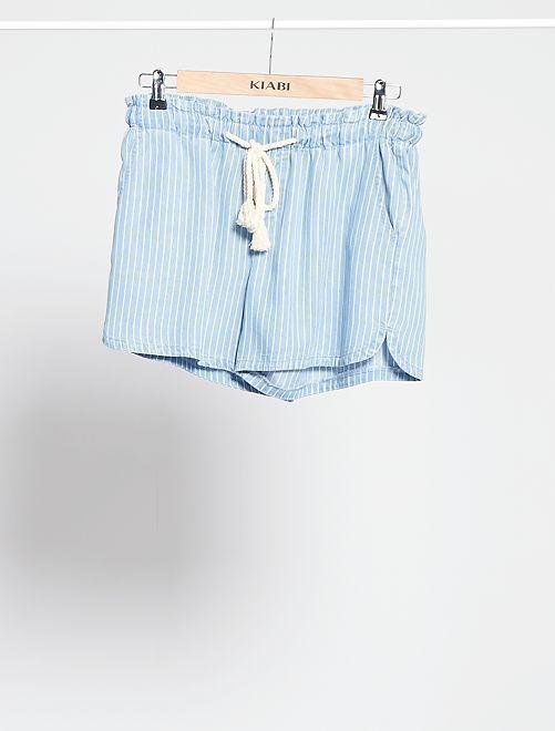Short de tencel con cinturón de cordón                                         AZUL