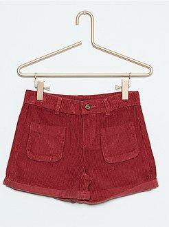 Pantalones cortos, short talla 10a - Short de terciopelo de talle alto