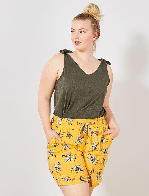 Short estampado con cintura elástica                             AMARILLO