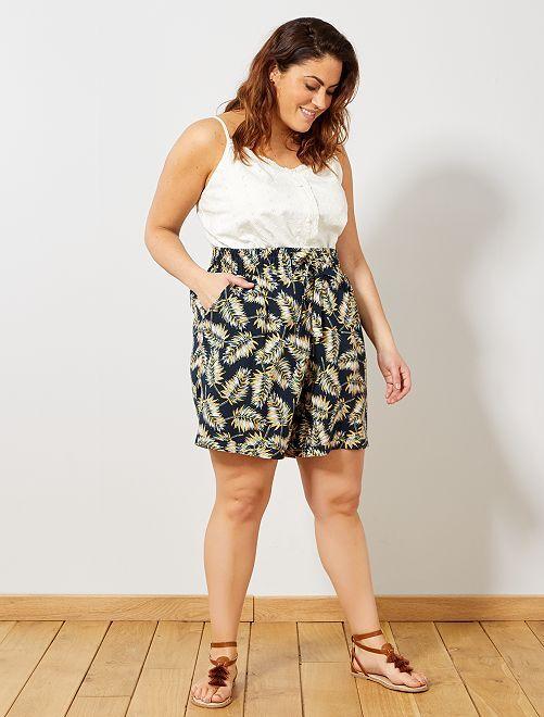3acb02216a Short estampado con cintura elástica Tallas grandes mujer - AZUL ...