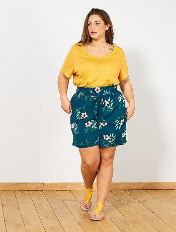 131d243f81 Tallas grandes mujer - Short estampado con cintura elástica - Kiabi