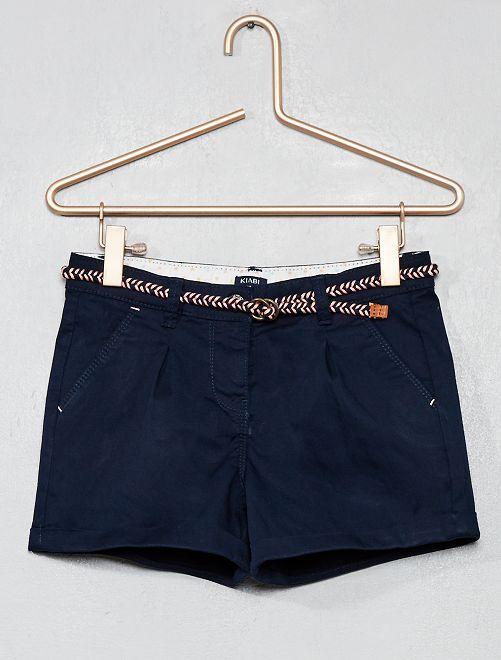 Short liso + cinturón trenzado                                                                                             azul Chica