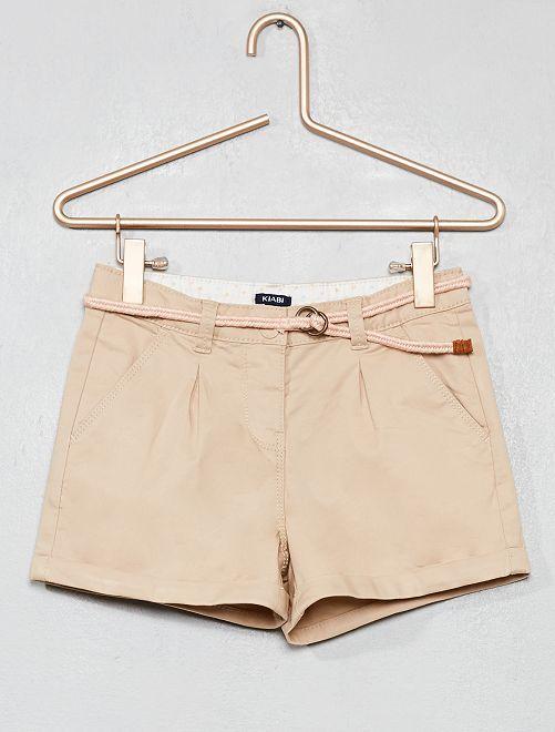 Short liso + cinturón trenzado                                                                                                                 BEIGE Chica