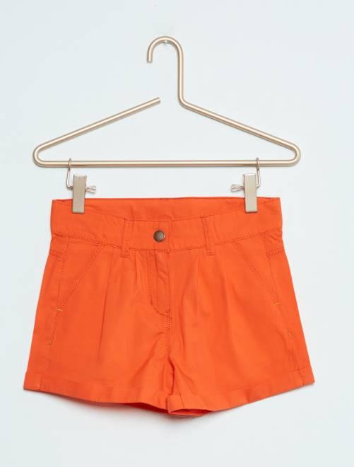 Short recto de algodón naranja Chica