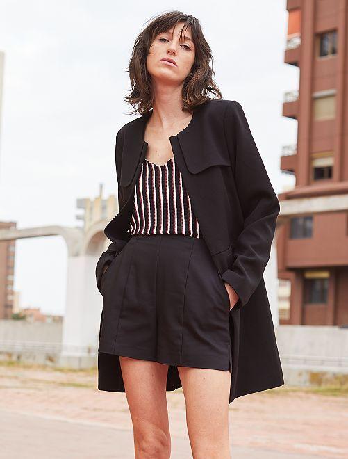 Short recto de raso de algodón                             negro Mujer talla 34 a 48