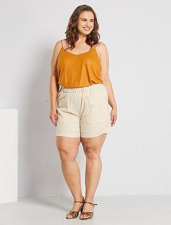 Pantalones Cortos Y Shorts Tallas Grandes Mujer Beige Kiabi