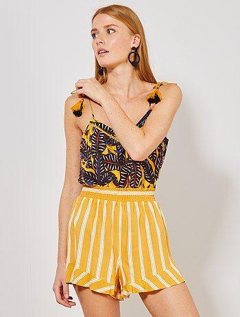 23531117 Pantalones cortos y shorts Mujer talla 34 a 48 | amarillo | Kiabi
