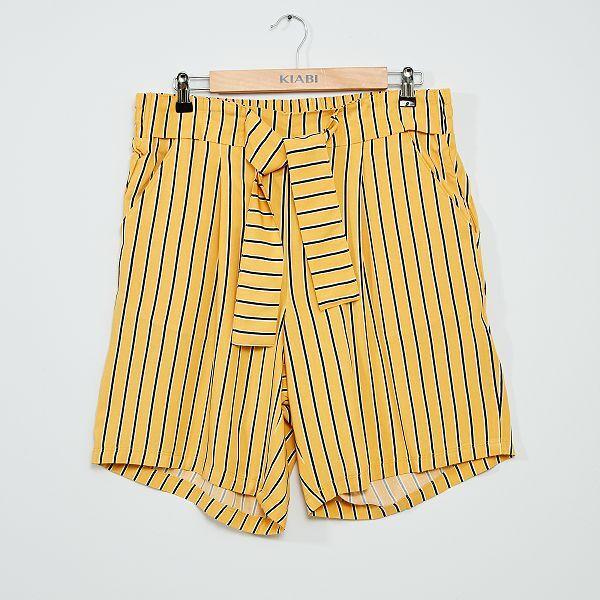 Short Vaporoso Estampado Tallas Grandes Mujer Amarillo Kiabi 8 00