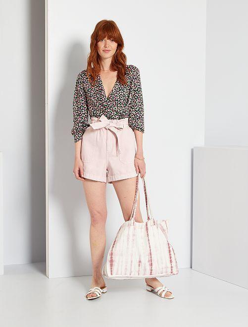 Short vaquero paperbag                             rosa lavanda