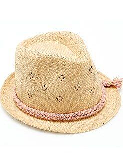 Accesorios - Sombrero borsalino calado con cinta trenzada