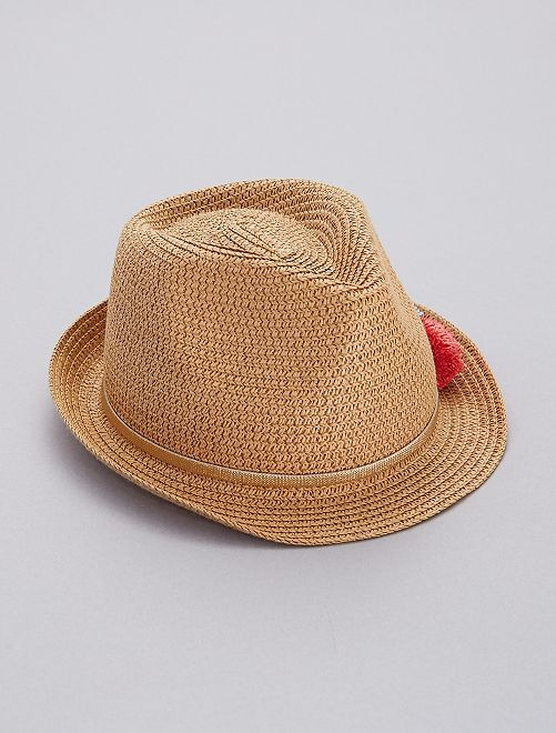 Sombrero borsalino con borlas                             castaño Chica