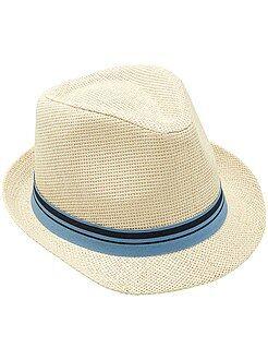 Accesorios - Sombrero borsalino con cinta a rayas