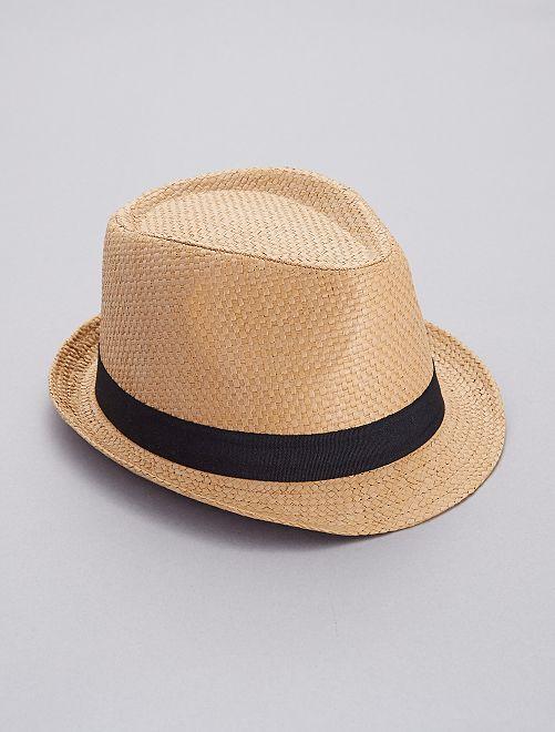 Sombrero borsalino de paja                             castaño Hombre