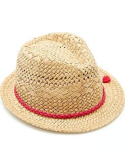 Accesorios - Sombrero borsalino trenzado de fantasía