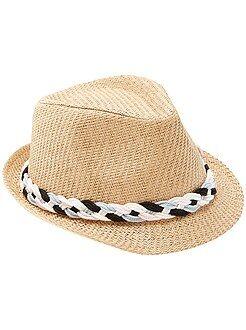 Complementos - Sombrero con banda trenzada - Kiabi