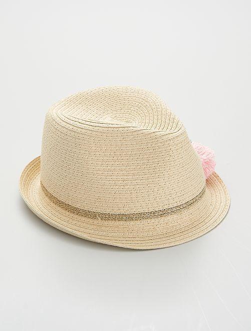 Sombrero con borlas                             beige