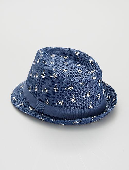 Sombrero con estampado de 'palmera'                             AZUL