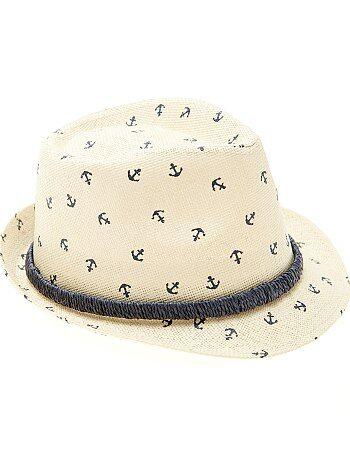 Sombrero de paja estampado tipo panamá - Kiabi