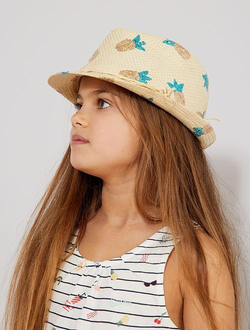 Sombrero de paja 'piñas'                             BEIGE Chica