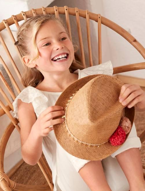 Sombrero de paja tipo borsalino beige Chica