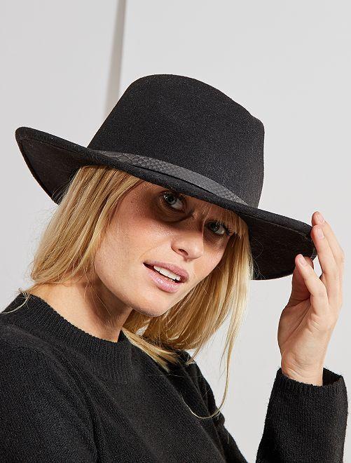 Sombrero fedora con detalle de 'escama'                                         negro