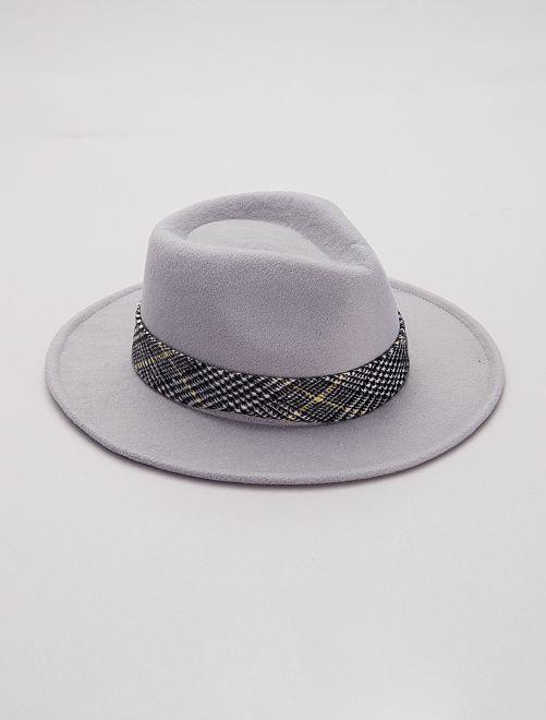 Sombrero fedora con detalle de 'jacquard'                                         gris