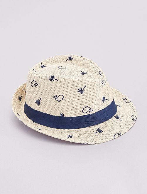 Sombrero Panamá estampado 'ballenas' y 'palmeras'                             BEIGE