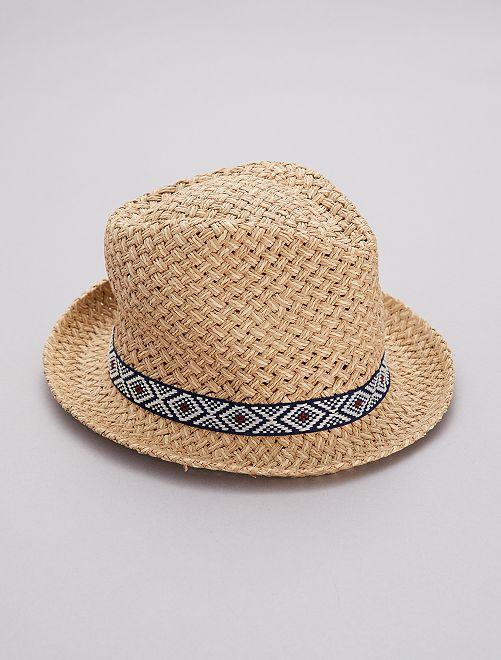 Sombrero tipo borsalino con detalle étnico                             AZUL Hombre