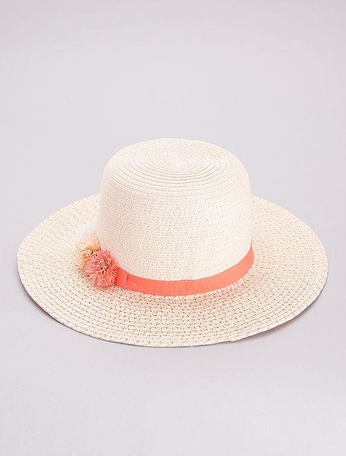 Sombrero tipo pamela con hilos dorados                             ROSA