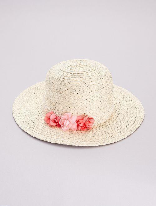 Sombrero tipo pamela de paja                             BEIGE
