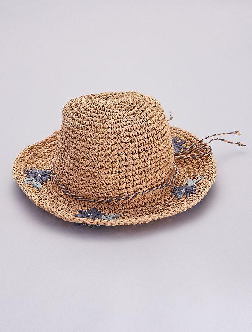 Sombrero tipo pamela de paja con 'flores'                             BEIGE
