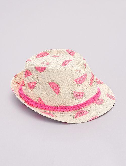 Sombrero tipo panamá 'sandías'                             BEIGE