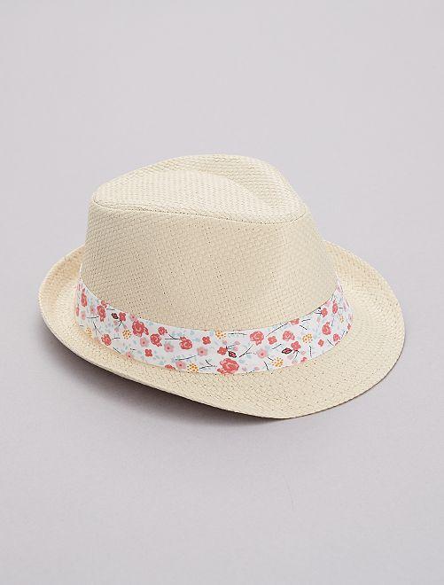 Sombrero trenzado con franja de 'flores'                                         blanco flores Chica