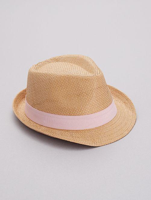 Sombrero trenzado con franja rosa                                         rosa Chica