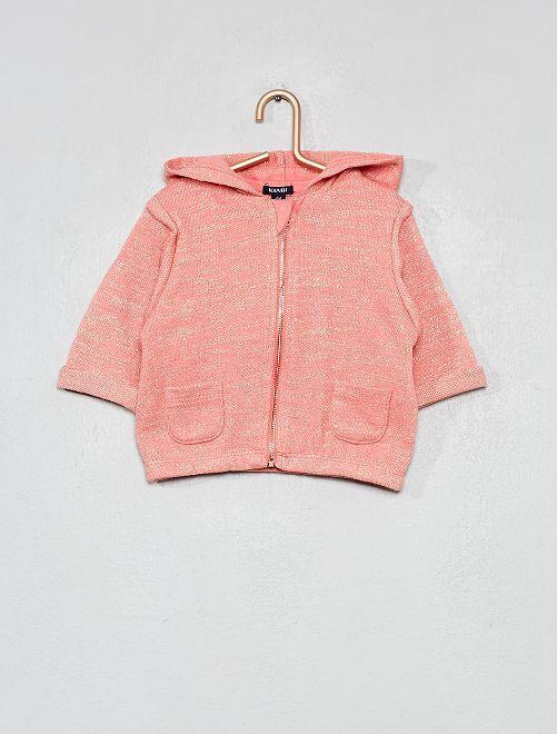 Sudadera brillante con capucha                             rosa coral Bebé niña