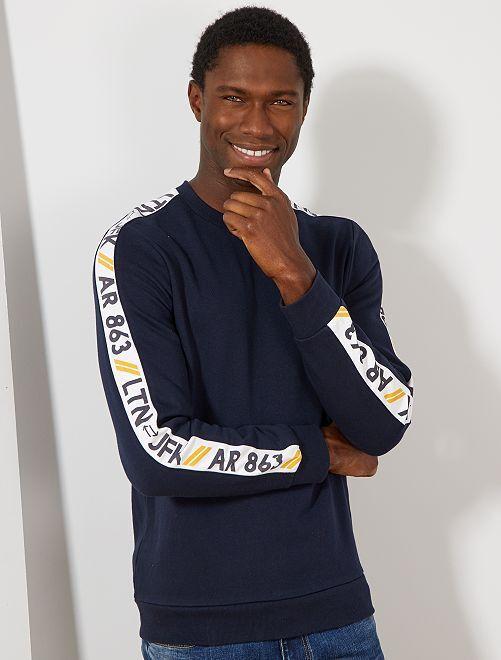 Sudadera con bandas en las mangas                                         azul navy
