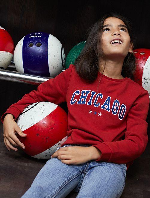 Sudadera con bordado 'Chicago'                             ROJO