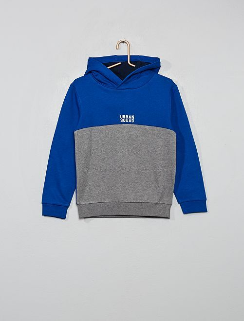 Sudadera con capucha bicolor                                                     azul