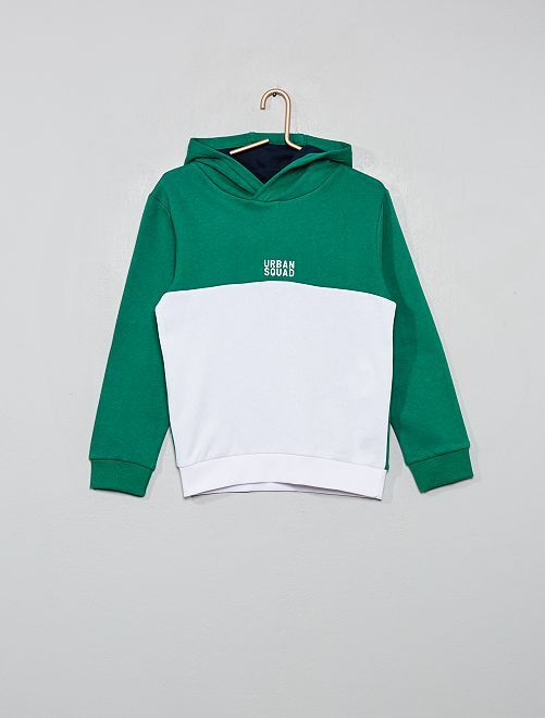 Sudadera con capucha bicolor                                                     verde